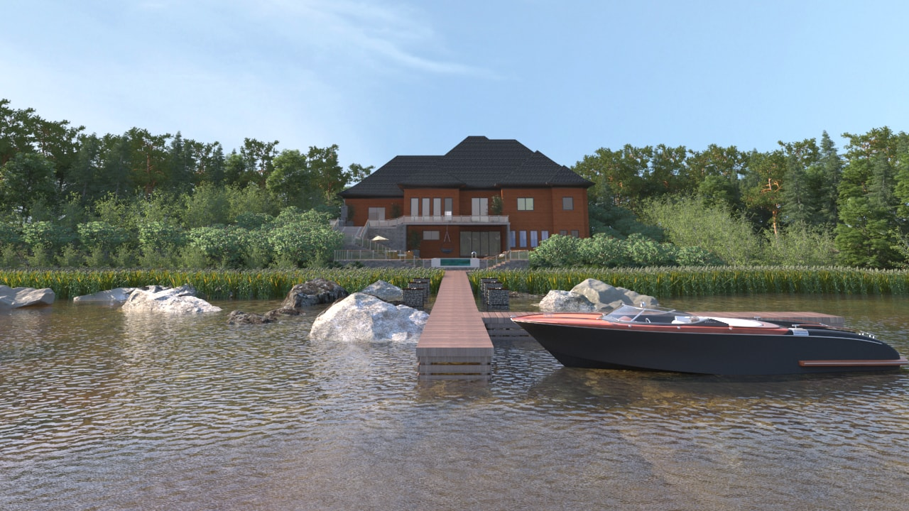 Renders - Two Storey House at a Lake - Back View - AutoCAD - Render - 3D Visualization