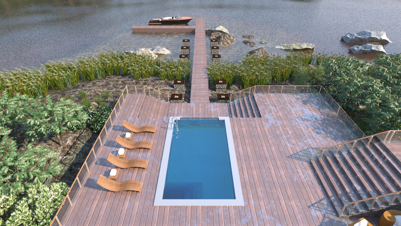 Renders - Outdoor Swimming Pool at a Lake Shore - Top View - AutoCAD - Render - 3D Visualization