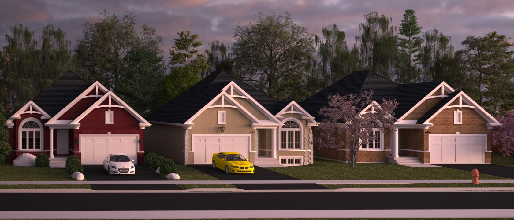 Renders - Three Houses - Street View - AutoCAD - Render - 3D Visualization