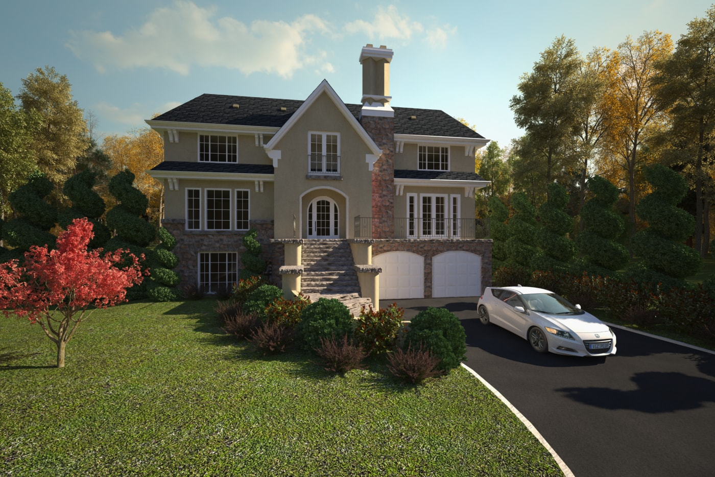 Renders - Three Storey House - Front View - AutoCAD - Render - 3D Visualization