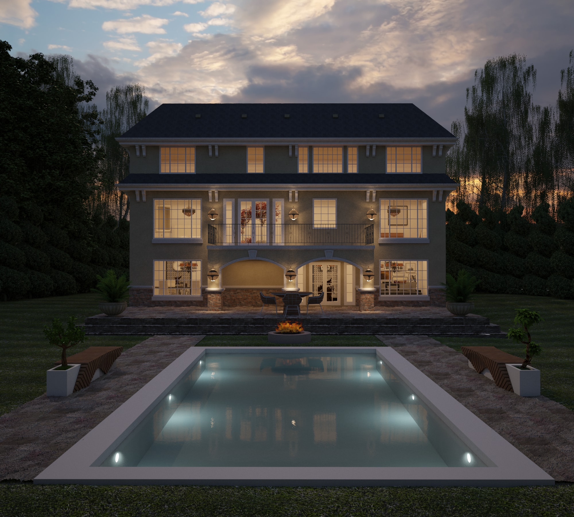 Renders - Three Storey House - Back View - AutoCAD - Render - 3D Visualization