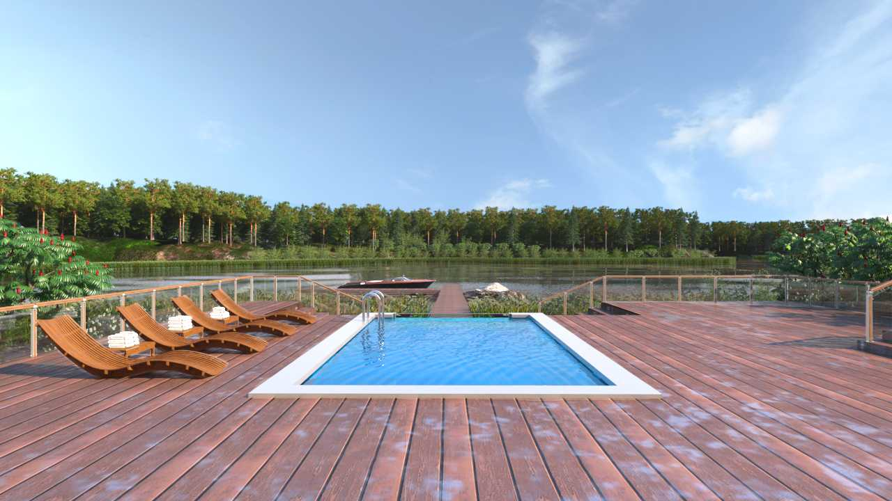Renders - Outdoor Swimming Pool at a Lake Shore - AutoCAD - Render - 3D Visualization