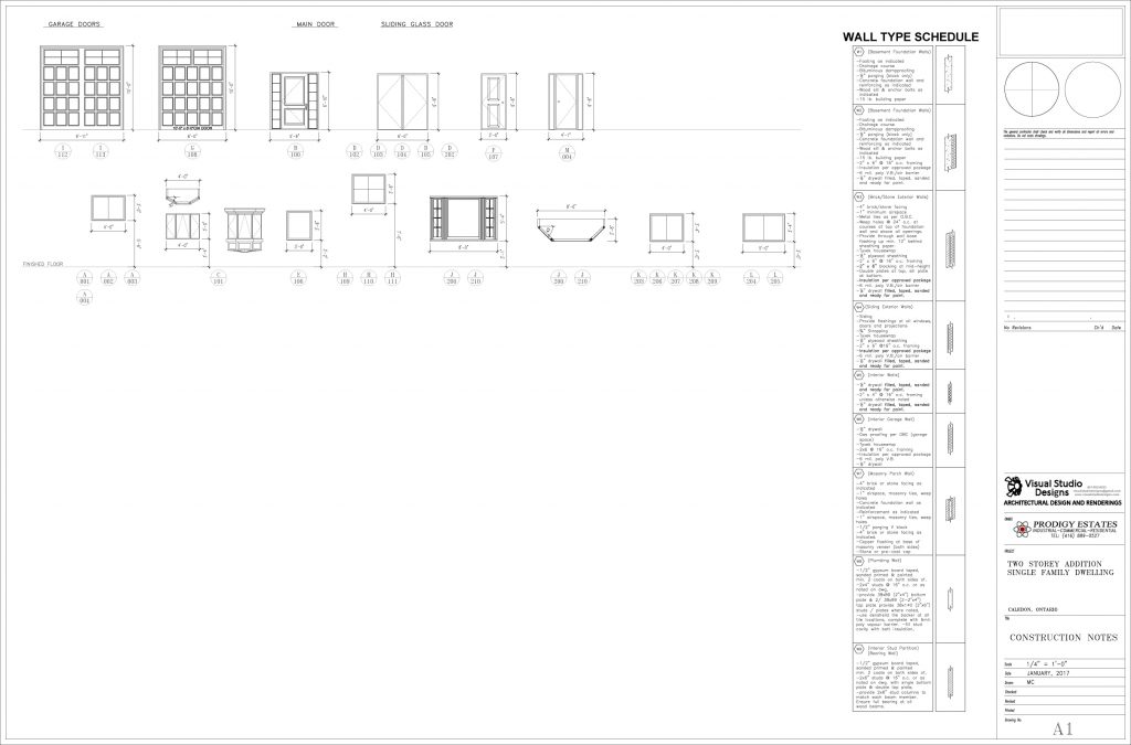 Two storey addition single family dwelling, wall type schedule - design drawing