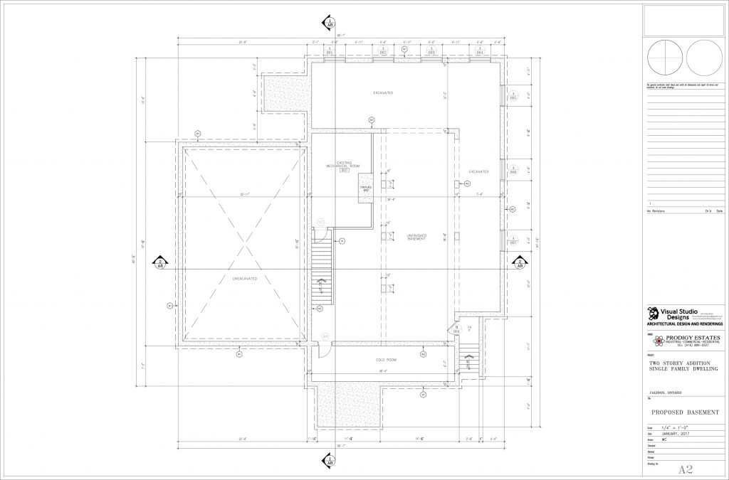 Two storey addition single family dwelling, proposed basement - design drawing