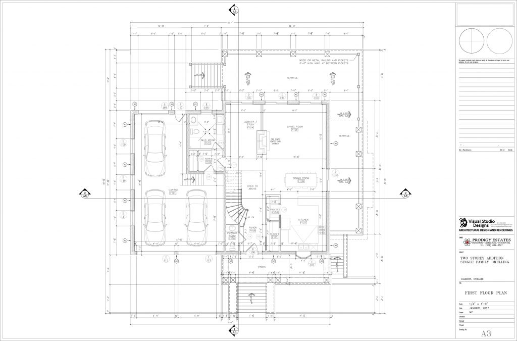 Two storey addition single family dwelling, first floor plan - design drawing