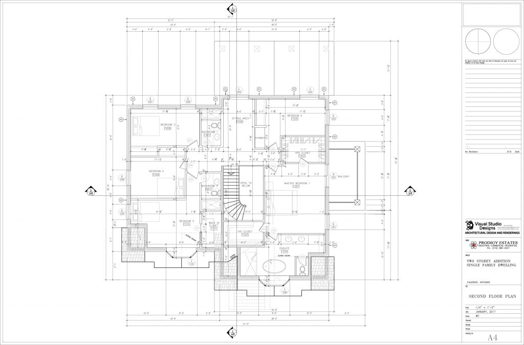 Two storey addition single family dwelling, second floor plan - design drawing