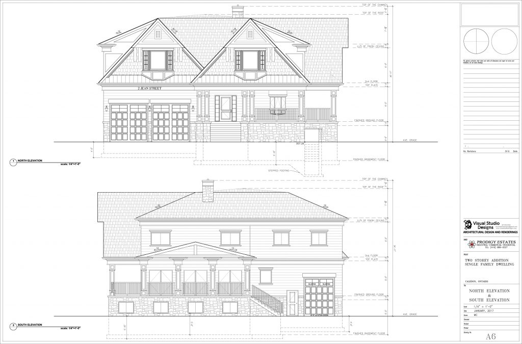 Two storey addition single family dwelling, north & south elevation - design drawing