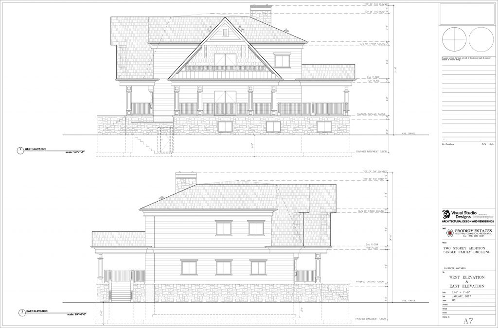 Two storey addition single family dwelling, west & east elevation - design drawing