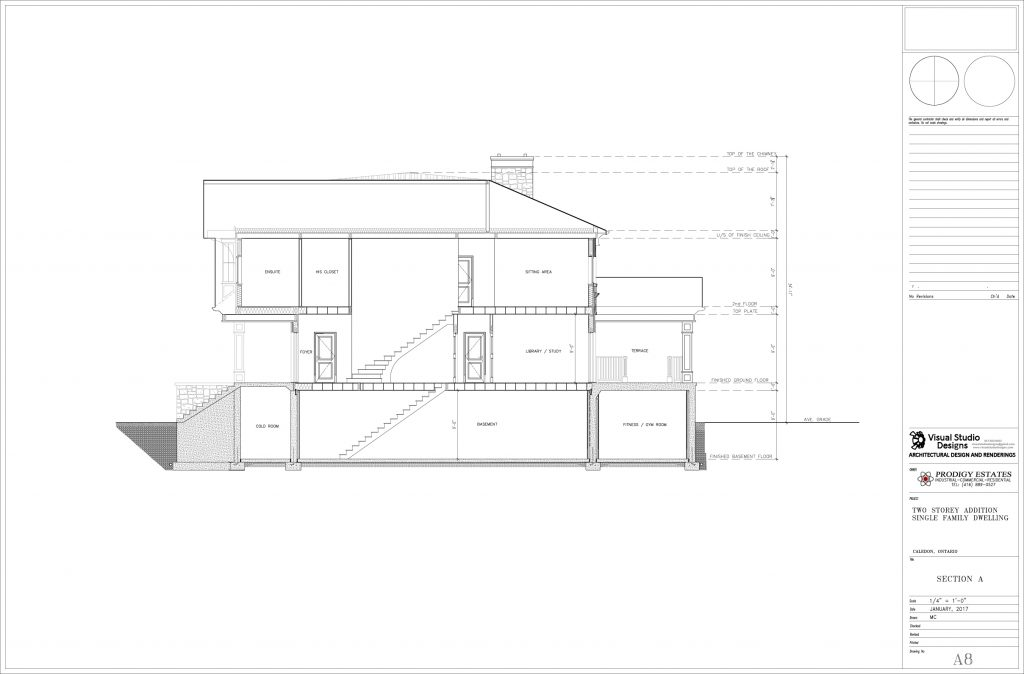Two storey addition single family dwelling - design drawing
