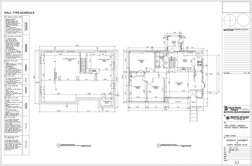 Two storey single family dwelling, existing basement & first floor plan - design drawing