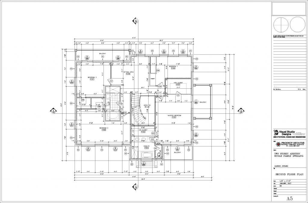 Two storey single family dwelling, second floor plan - design drawing