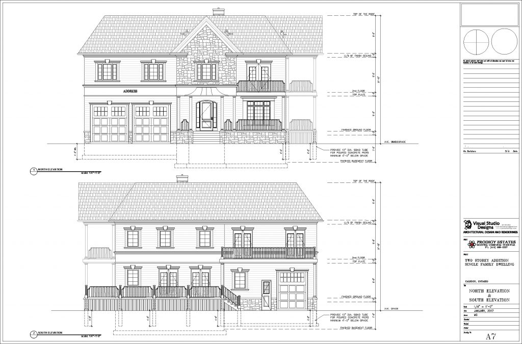 Two storey single family dwelling, north & south elevation - design drawing