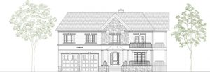Two storey single family dwelling, front elevation - design drawing