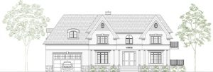 Single family dwelling, front elevation - design drawing